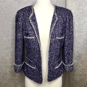 Leifsdottir Blue Purple Tweed Wool Blend Blazer 2
